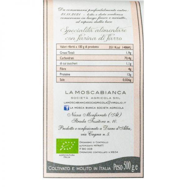 etichetta pasta di farro italiana